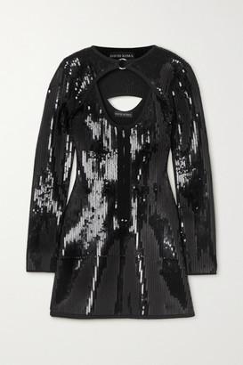David Koma Cutout Sequined Knitted Mini Dress - Black