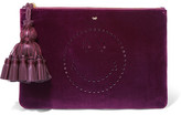 Anya Hindmarch Georgiana Leather-trimmed Perforated Velvet Clutch - Burgundy