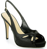 Kate Spade Genna - Open Toe Slingback Platform in Black Satin