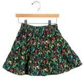 Oscar de la Renta Girls' Corduroy Floral Print Skirt