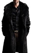 Cocobla Mens Luxury Faux Fur Coat Long Jacket Outerwear Warm Winter Overcoat Parka