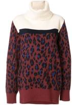 Sacai leopard print roll neck jumper