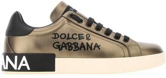 Dolce & Gabbana Portofino Logo Print Metallic Sneakers