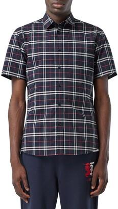 Burberry Simpson Check Short Sleeve Button-Up Shirt