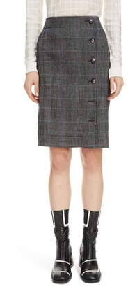 Chloé Plaid Stretch Wool Pencil Skirt
