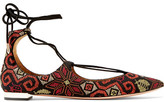 Aquazzura Christy Embroidered Suede Point-toe Flats - Black