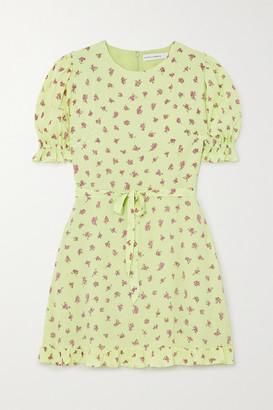 Faithfull The Brand Florence Ruffled Floral-print Crepe Mini Dress - Lime green