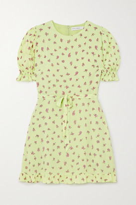 Faithfull The Brand Net Sustain Florence Ruffled Floral-print Crepe Mini Dress - Lime green
