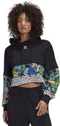 adidas Wild Flower Cropped Hoodie (Black/Multicolor) Women's Sweatshirt
