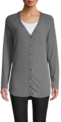 Project Social T Ribbed Button-Front Cardigan