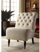 Linon Sophie Cream Fabric Tufted Back Accent Chair, Dark Espresso Legs