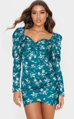 PrettyLittleThing Emerald Green Floral Print Puff Sleeve Twist Detail Bodycon Dress