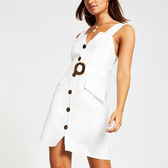 River Island White belted pinafore dress