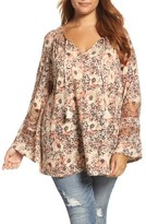 Lucky Brand Plus Size Women's Floral Mixed Media Top