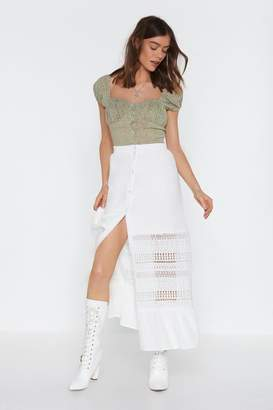 Nasty Gal Womens Let'S Head Back To Lace Maxi Skirt - White - L