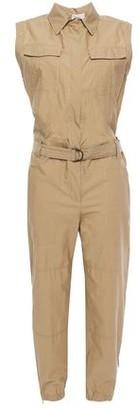 Brunello Cucinelli Cropped Belted Crinkled Cotton-blend Jumpsuit