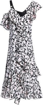 Proenza Schouler Cold-shoulder Ruffled Printed Silk Crepe De Chine Dress