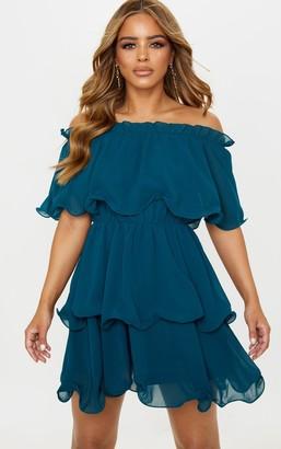 Bardot 4fashion Petite Emerald Green Chiffon Ruffle Tiered Dress
