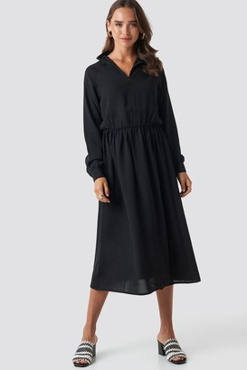 NA-KD High Neck Zip Front Ankle Dress