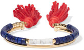 Aurelie Bidermann Sioux Gold-plated, Lapis Lazuli, Rhyolite And Cotton Cuff - Blue