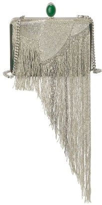 Oscar de la Renta Rogan Embellished Fringe Satin Box Clutch