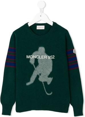 Moncler contrast stripe knit jumper