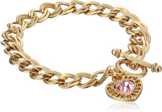 """1928 Jewelry Hearts"""" 14k Gold-Dipped Toggle Charm Bracelet with Pink Swarovski Crystals"""