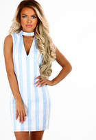 Pink Boutique Off Duty Style Blue And White Stripe Choker Mini Dress