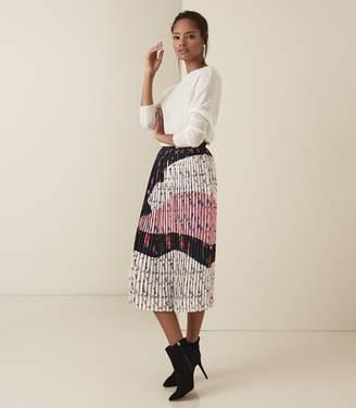 Reiss Olga - Bold Floral Pleated Midi Skirt in Multi