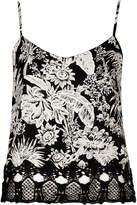Topshop Mono floral crochet cami