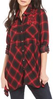 Westbound Petites 2 Pocket Plaid Embroidered Tunic Top