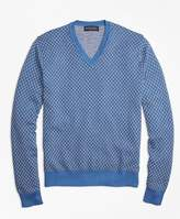 Brooks Brothers Supima® Cotton Cashmere Jacquard V-Neck Sweater