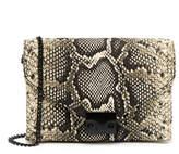 Loeffler Randall Embossed Python Leather Lock Clutch Bag