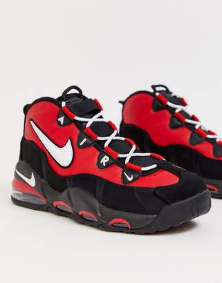 Nike Uptempo '95 trainers in black and red