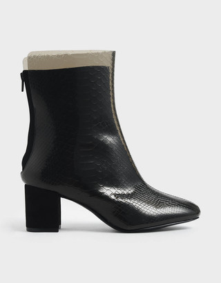 Charles & KeithCharles & Keith Snake Print See-Through Effect Block Heel Calf Boots