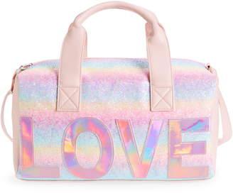 OMG Love Pastel Rainbow Glitter Duffle Bag