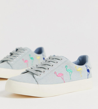 Asos Design DESIGN Wide Fit Vocalist embroidered sneakers