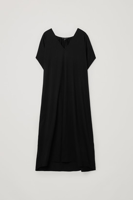 Cos Gathered V-Neck Cotton Dress