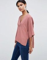 Asos V Neck Kimono Top in Soft Twill