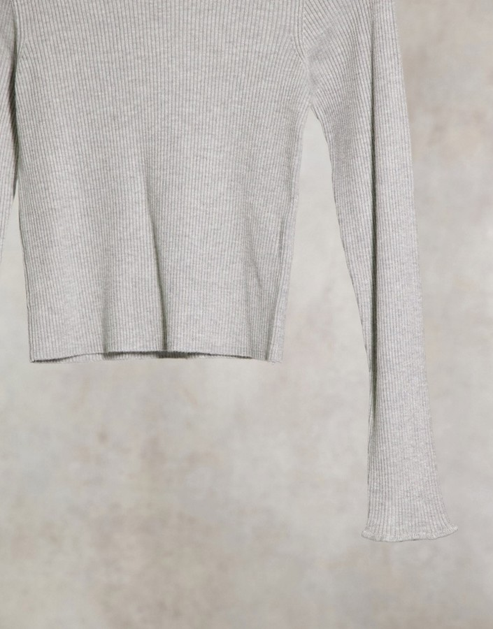 Thumbnail for your product : Pimkie roll neck jumper with lettuce edge in grey