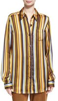 Acne Studios Buse Striped Long-Sleeve Boyfriend Shirt, Brown Pattern