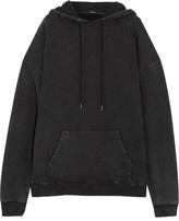 R 13 Oversized Distressed Cotton-jersey Hooded Sweatshirt - Black