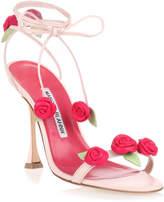 Manolo Blahnik Xafiore pink leather rose sandal