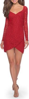 La Femme Tulip Hem Long Sleeve Lace Minidress