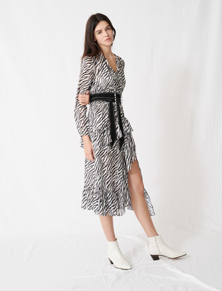 Maje Printed black and white asymmetric dress