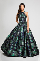 Terani Couture 1723E4294 Floral Halter Pleated Evening Gown