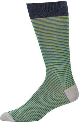 Neiman Marcus Men's Mercerized Cotton-Blend Heather Striped Socks