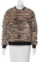 R 13 Zebra Print Fur Sweatshirt