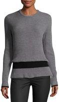 BA&SH Ribbed Crewneck Long-Sleeve Wool Sweater