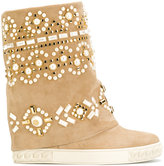 Casadei embellished Chaucer boots - women - Nappa Leather/Calf Suede/rubber - 36